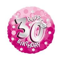 "Age 30 Pink Sparkle 18"" Foil Balloon"